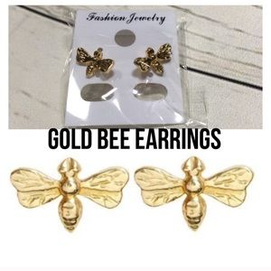 Boutique 14k gold honey bee earring set new